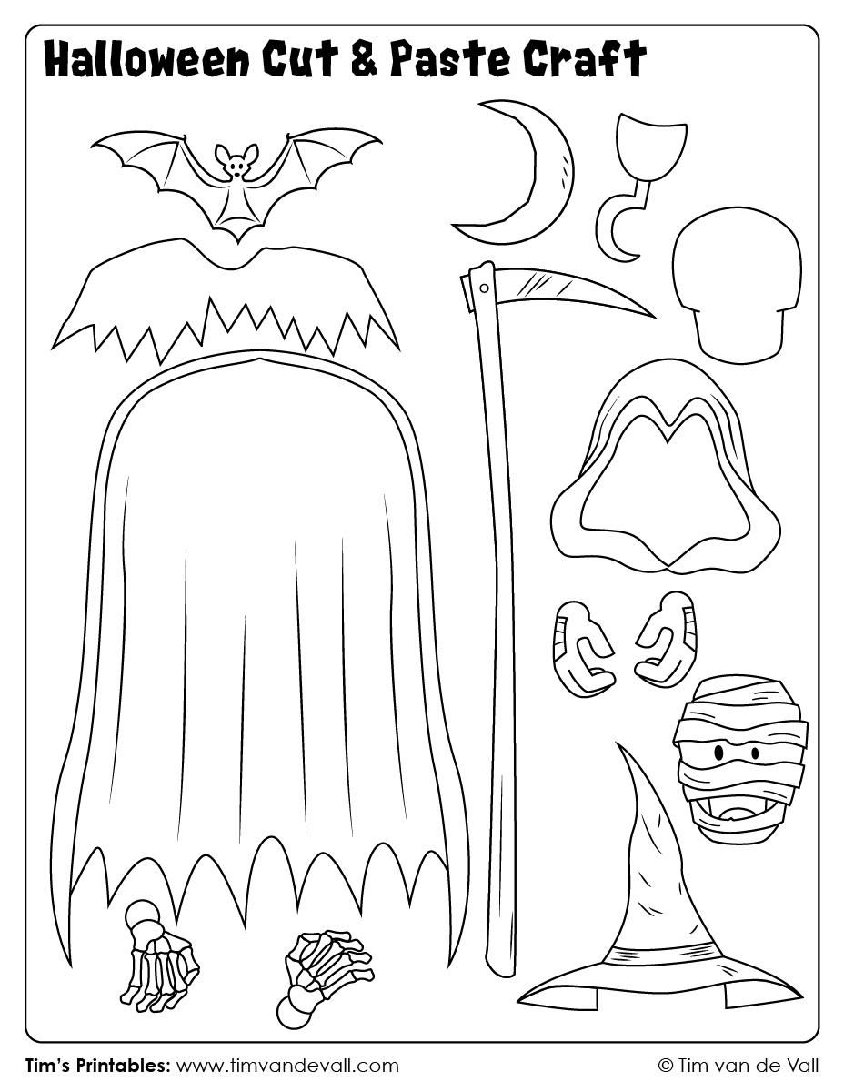 Halloween Cut & Paste Craft - Sheet 6 - Tim's Printables