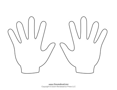 photograph relating to Hand Template Printable called Blank Hand Template Printables Handprint Templates