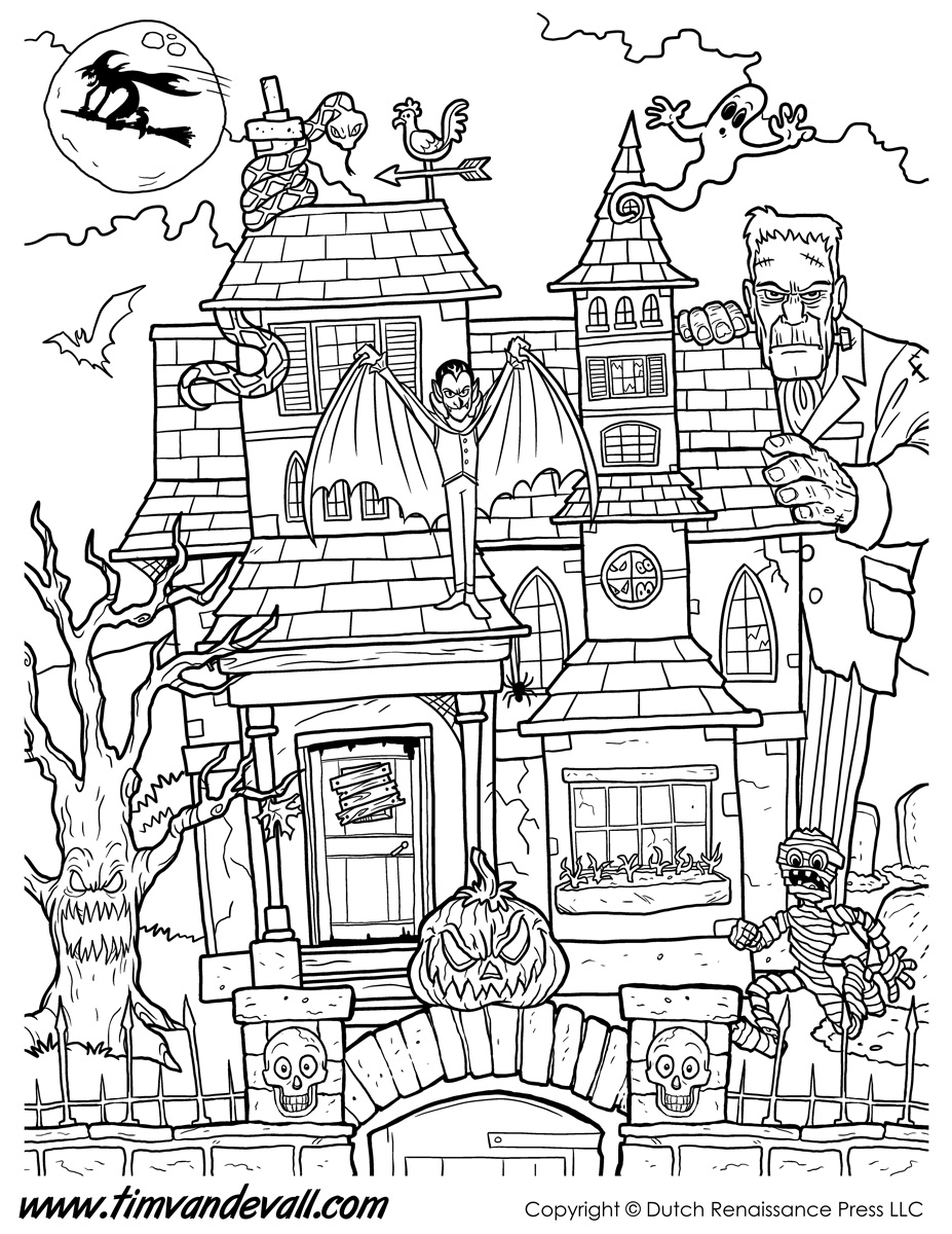 Haunted House Coloring Page   Tim's Printables