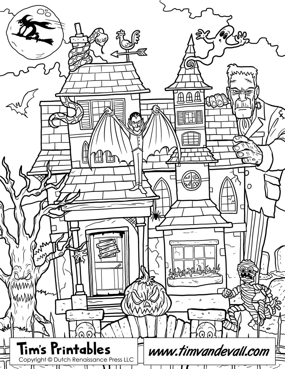 scary halloween house coloring pages - photo#22