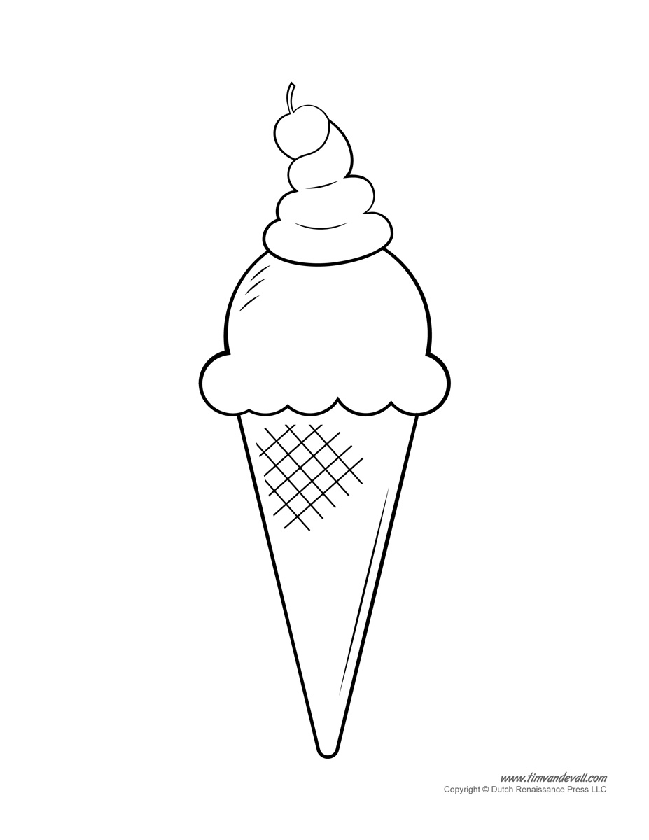 Coloring pictures of ice cream cones - Ice Cream Coloring Page