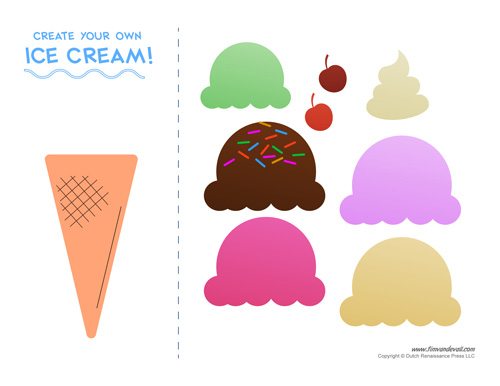 Ice Cream Templates on Cut Ice Cream Cone Math Worksheets