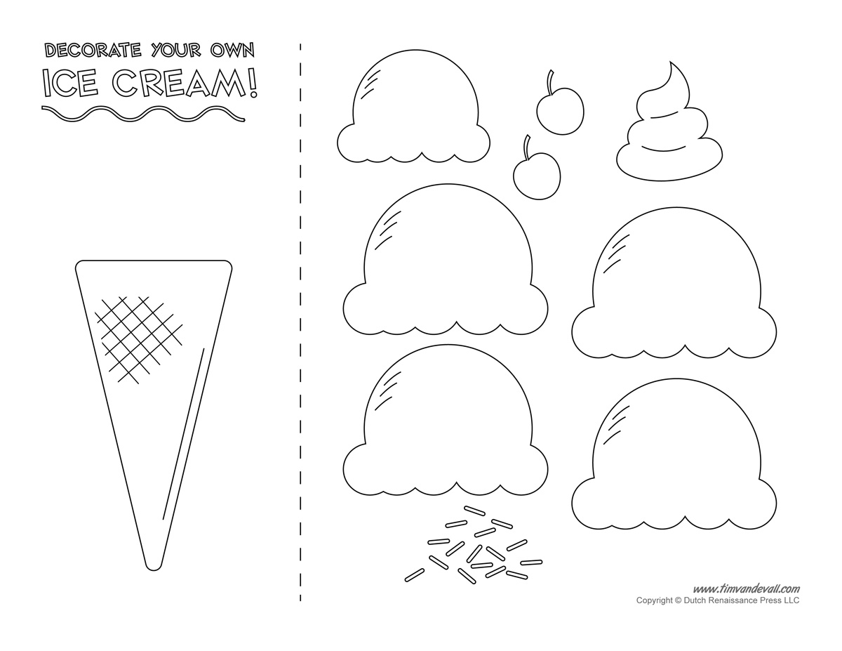 Ice cream templates and coloring pages for an ice cream party for Free craft templates to print