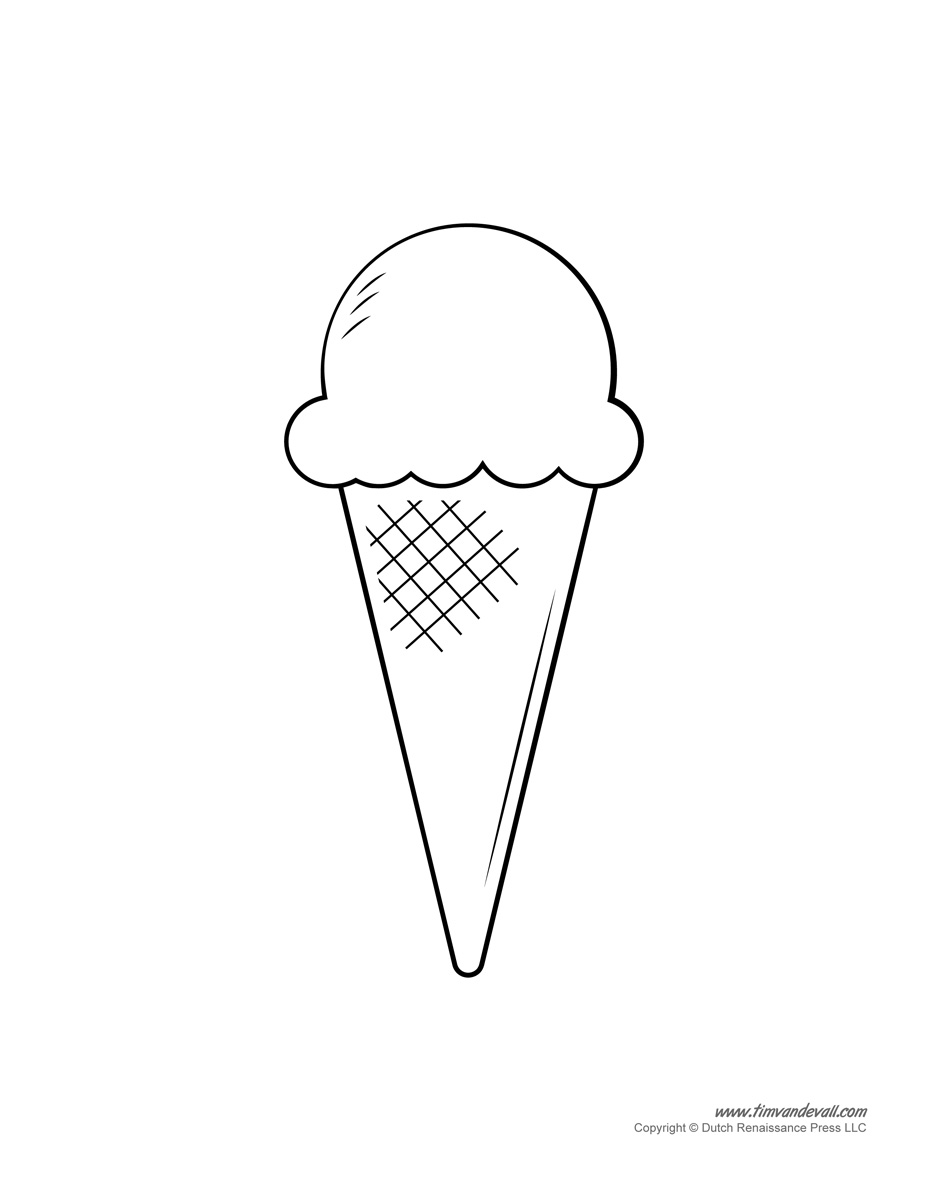 Ice Cream Templates and Coloring