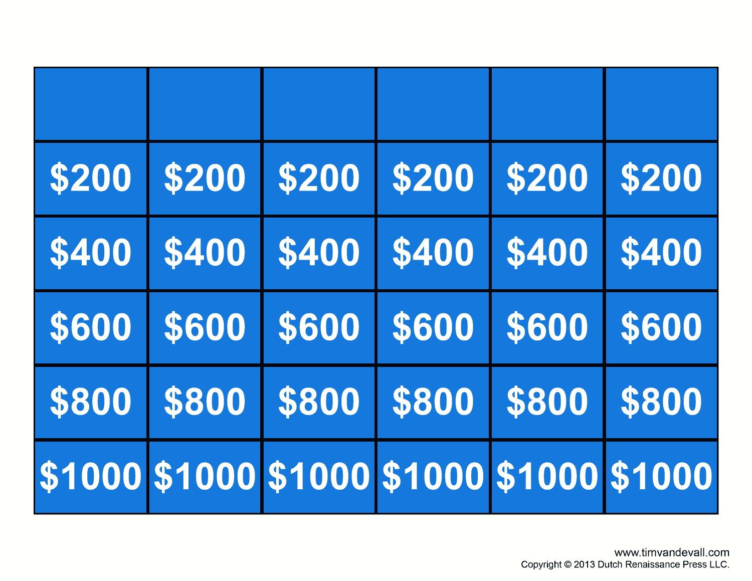 Free jeopardy template make your own jeopardy game for Jepordy template