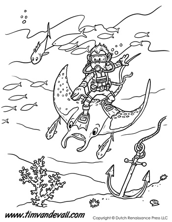 Manta Ray Monkey Coloring Page