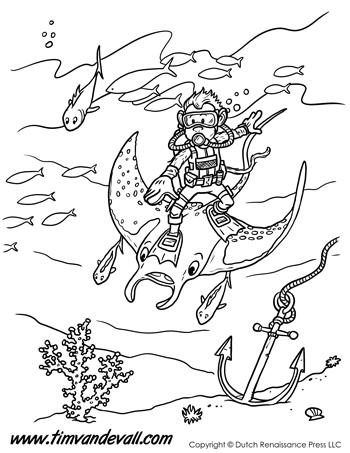 Manta Ray Monkey Coloring Page