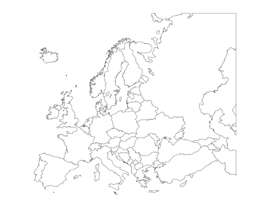 image relating to Printable Blank Map of Europe named Printable Blank Map of Europe