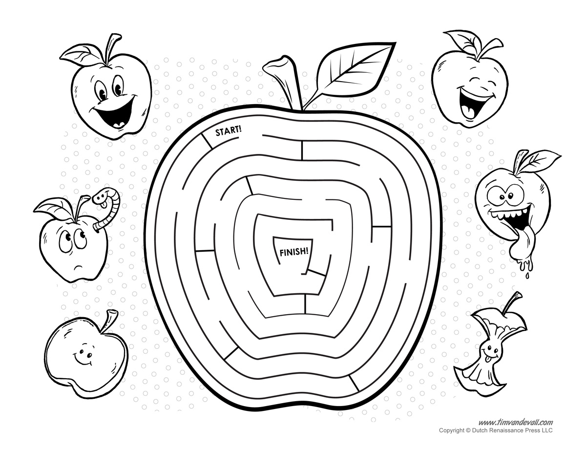 Apple Maze - Tim's Printables