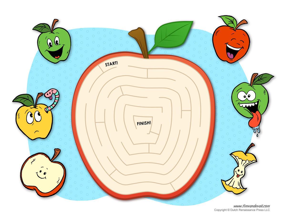 Apple Maze Tims Printables