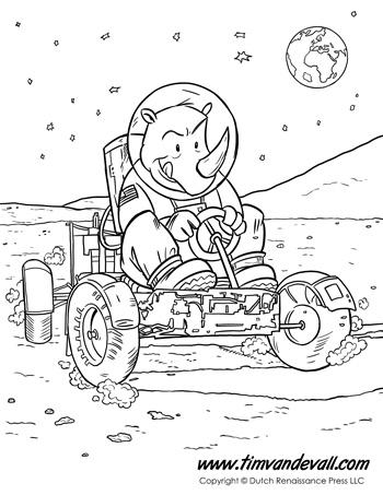 Moon Car Coloring Page