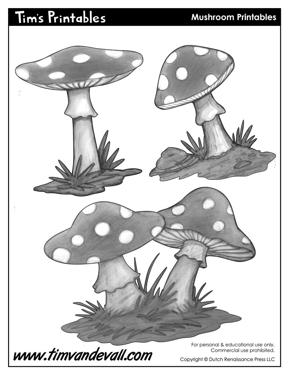 Mushroom Template Shapes for Preschool Art