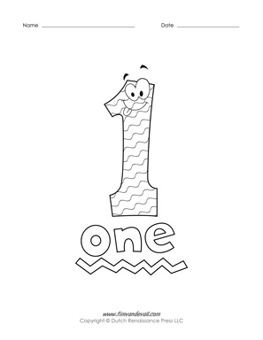 printable number coloring pages - One Coloring Page