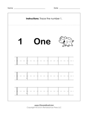 graphic regarding Number One Printable identified as Amount 1 Worksheet - Tims Printables