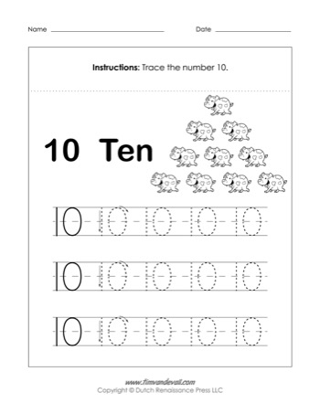 Number 10 Worksheet Tim S Printables