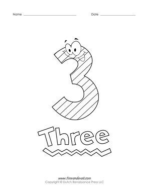 printable number coloring pages free preschool coloring pages - 3 Coloring Page