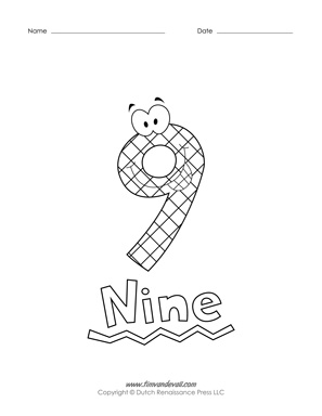 number 9 coloring pages. Number Coloring Pages Printable  Free Preschool