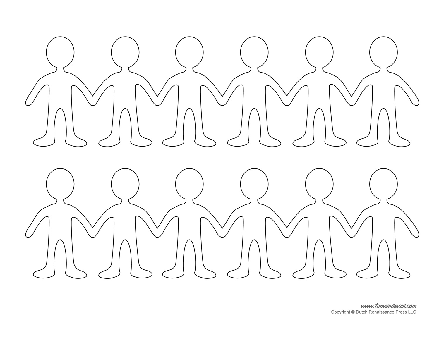 Paper Dolls Printable Paper Doll Chain Template