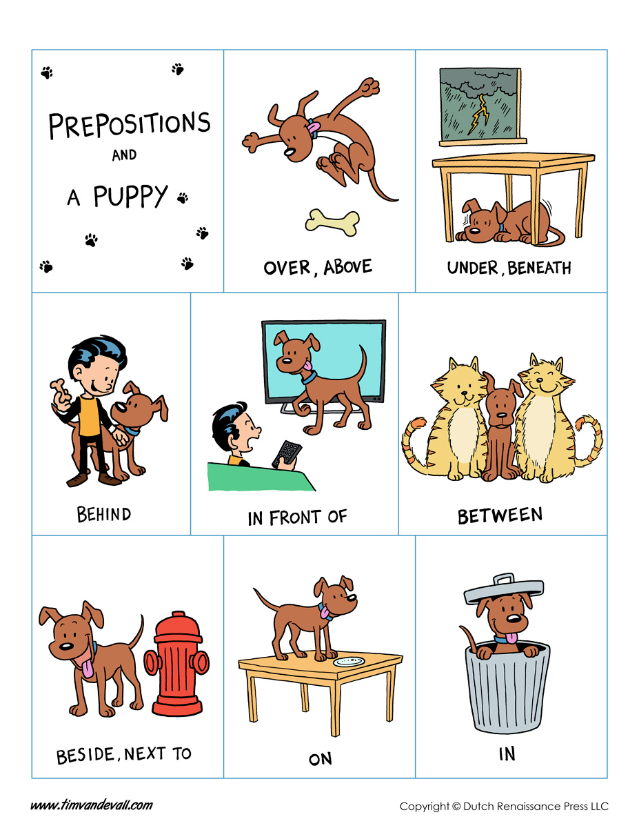 Free Printable List Of Prepositions - Next to preposition