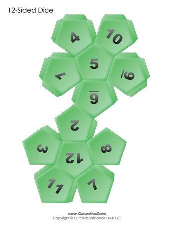 12 Sided Dice Template Green
