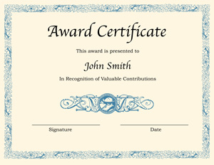 printable award certificate template for word