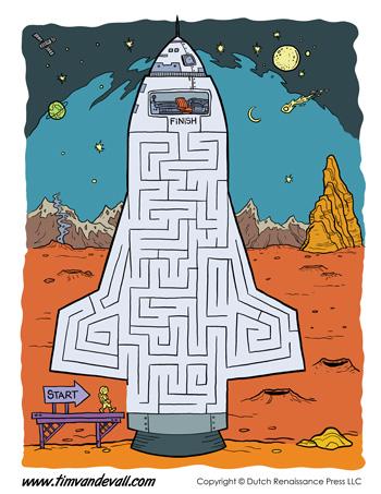 printable space maze