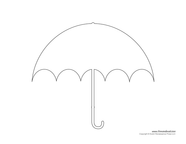photograph regarding Umbrella Printable referred to as Printable Umbrella Template - Tims Printables