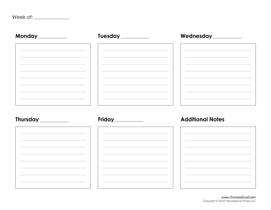 5 day planner template