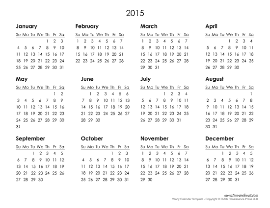 Free Printable 2015 Yearly Calendar Template