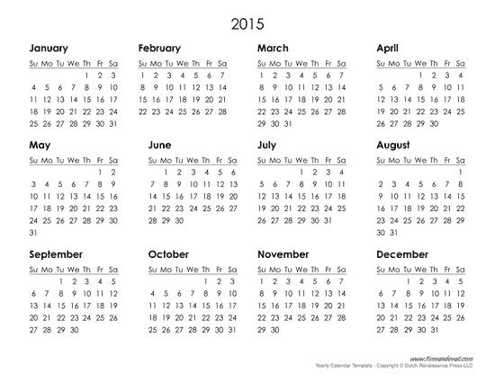 2015 Printable Calendar Template - Printable template 2017