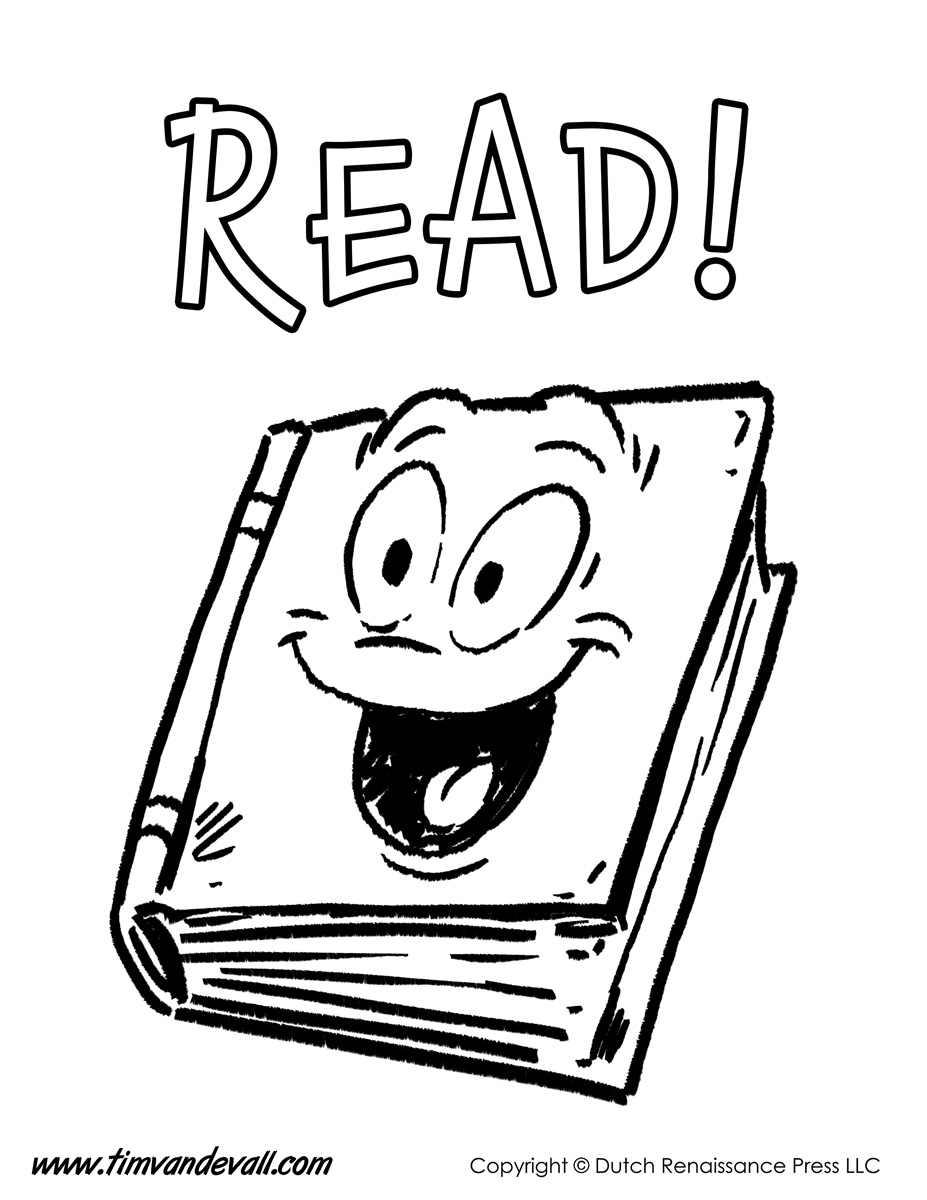 Book reading coloring page - Tags Books