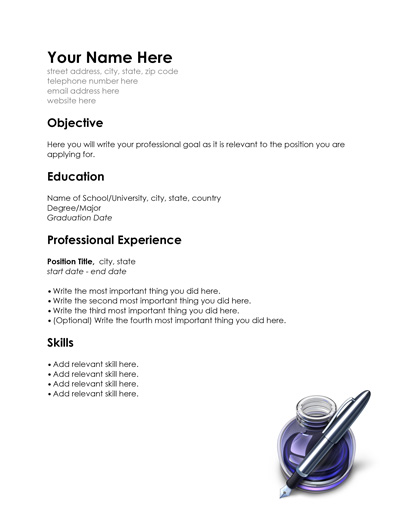 professional resume template for word pages 1 2