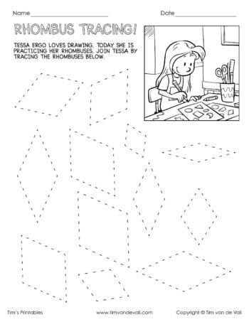 rhombus tracing worksheet - Tim's Printables