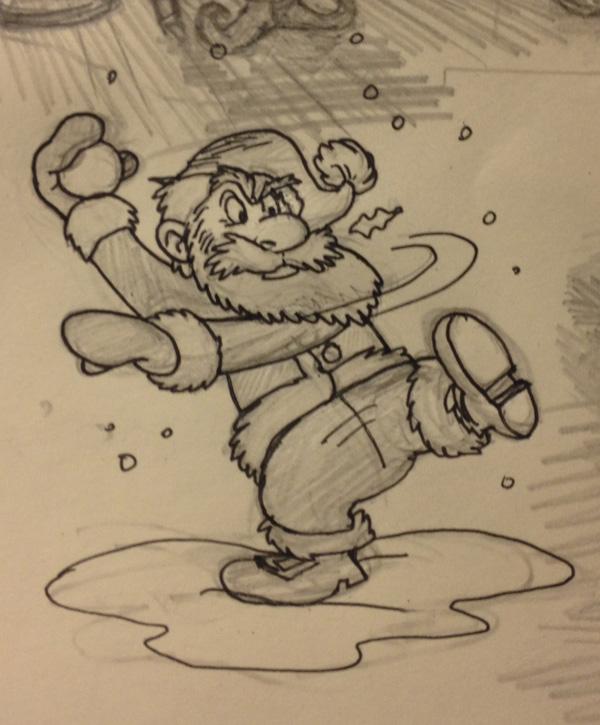 santa throwing snowball