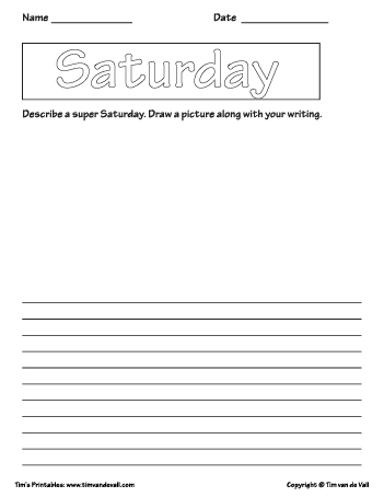Saturday printable