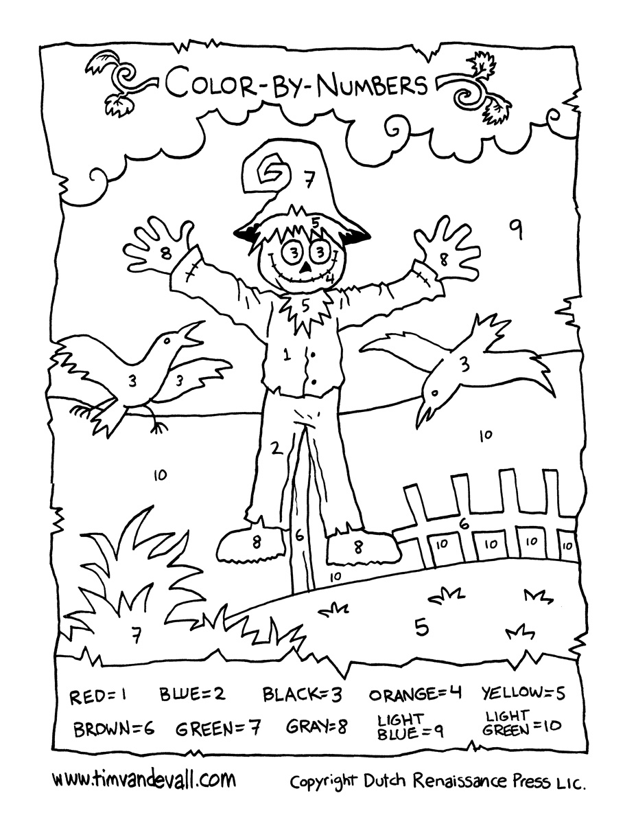 Scarecrow Color-by-Numbers - Tim's Printables