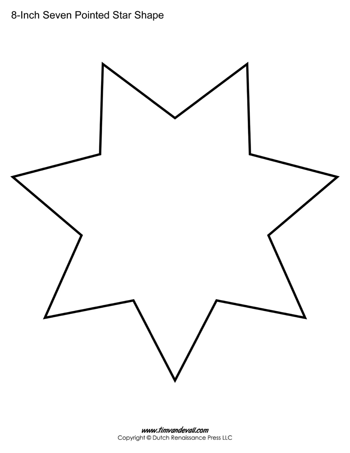 Seven pointed star shape templates blank printable shapes for How to draw a perfect star shape
