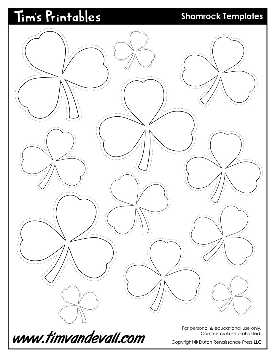 photo about Free Printable Clipart for St Patrick's Day known as Printable Shamrock Templates Printable Condition Templates