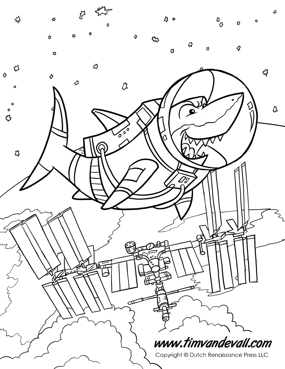 Free coloring pages x ray - Shark In Space