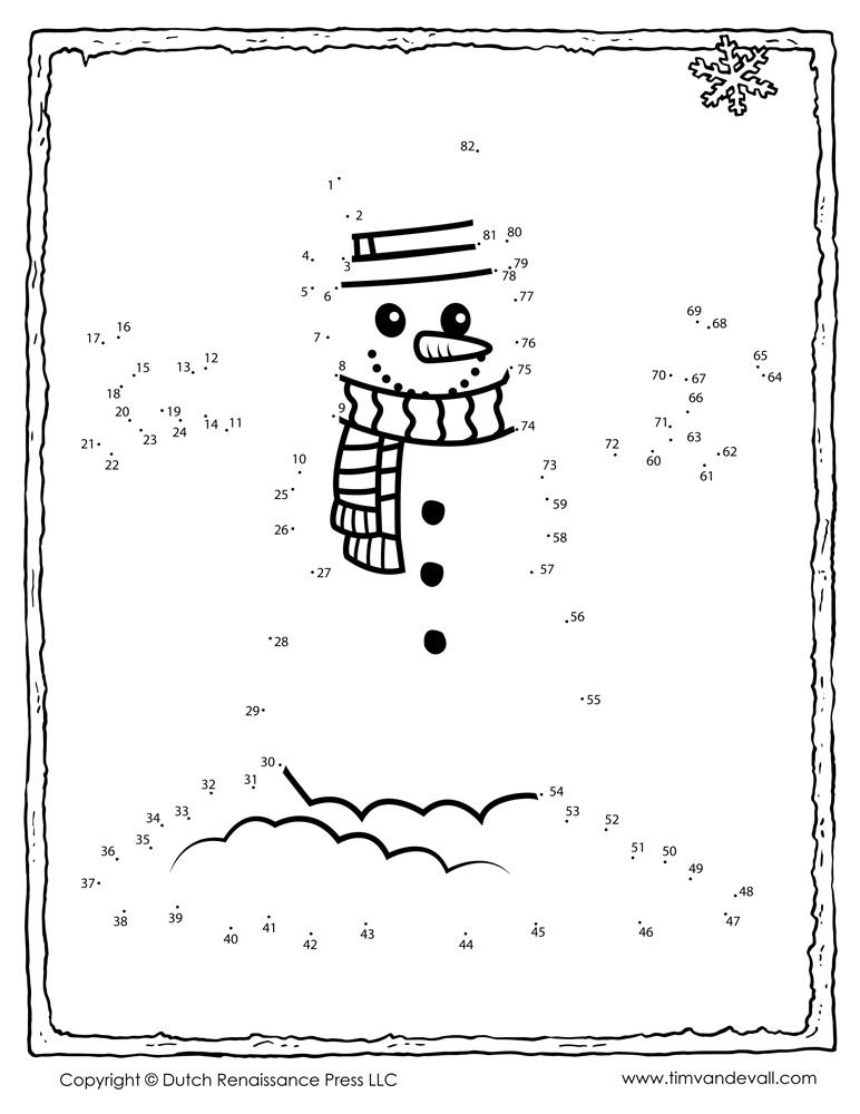 snowman dot to dot coloring pages - snowman dot to dot tim 39 s printables