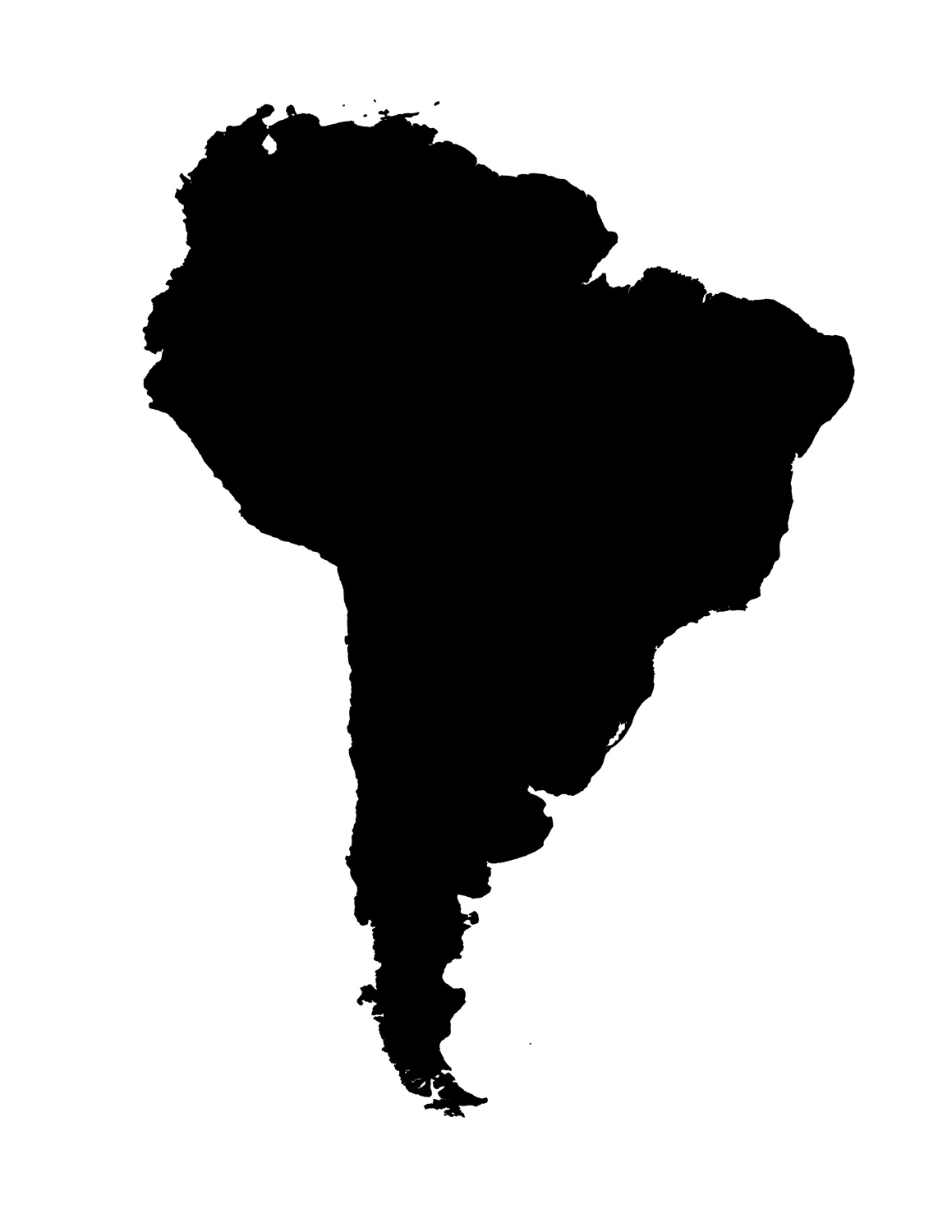 Blank Map Of South America Template - Blank map of latin america