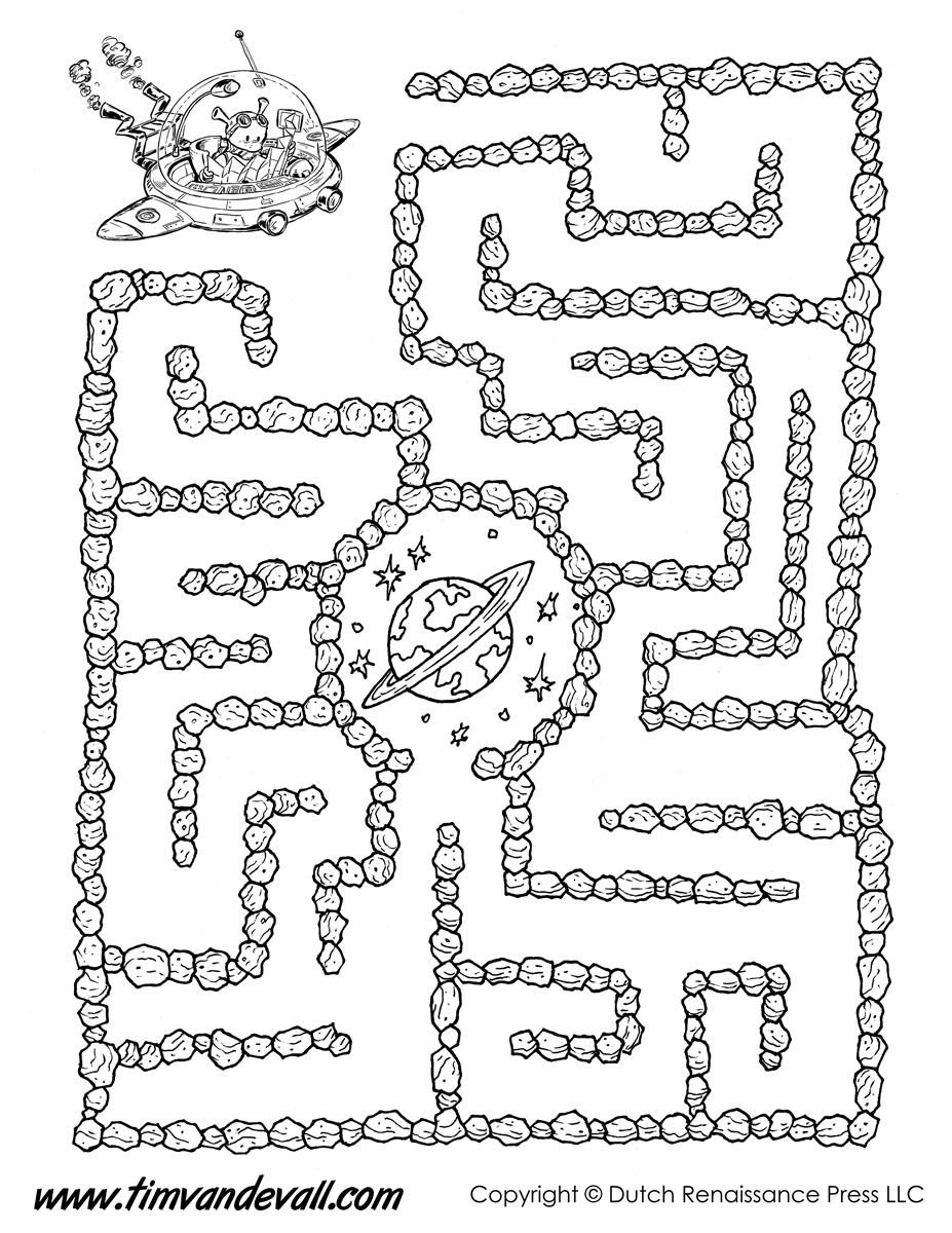 Space maze black white tim van de vall for Learning planet alphabet coloring pages