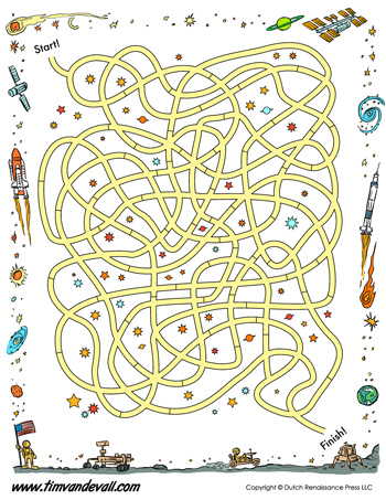 Space Maze Printable - Tim\'s Printables