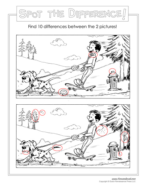 Number Names Worksheets spot the difference pictures for adults : Spot the Difference Printable