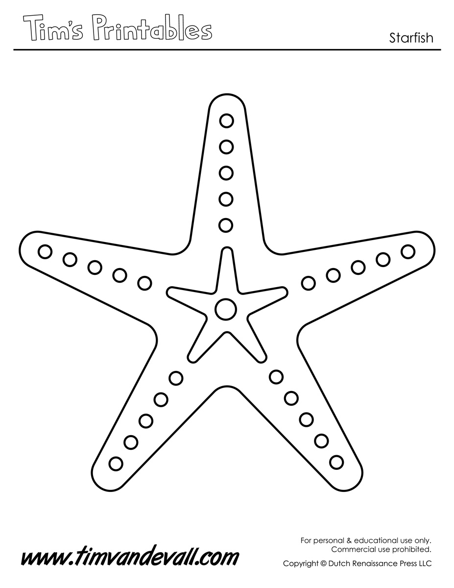 image regarding Printable Starfish known as Starfish Template Sea Star Templates for Preschool Artwork