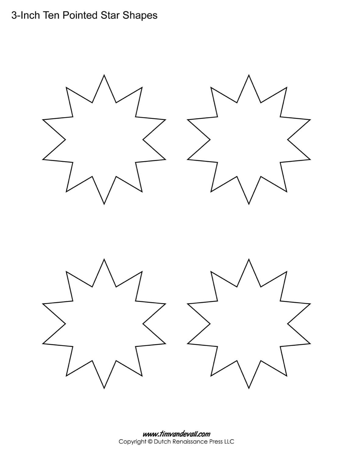 Blank Ten Pointed Star Shapes – Star Template