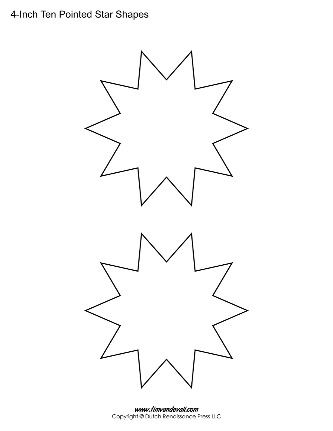 photo relating to Printable Arts and Crafts referred to as Blank 10 Pointed Star Styles Printable Star Template for
