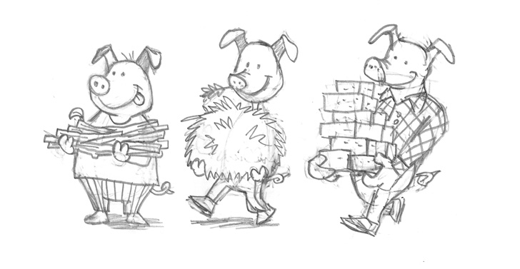 three little pigs sketches