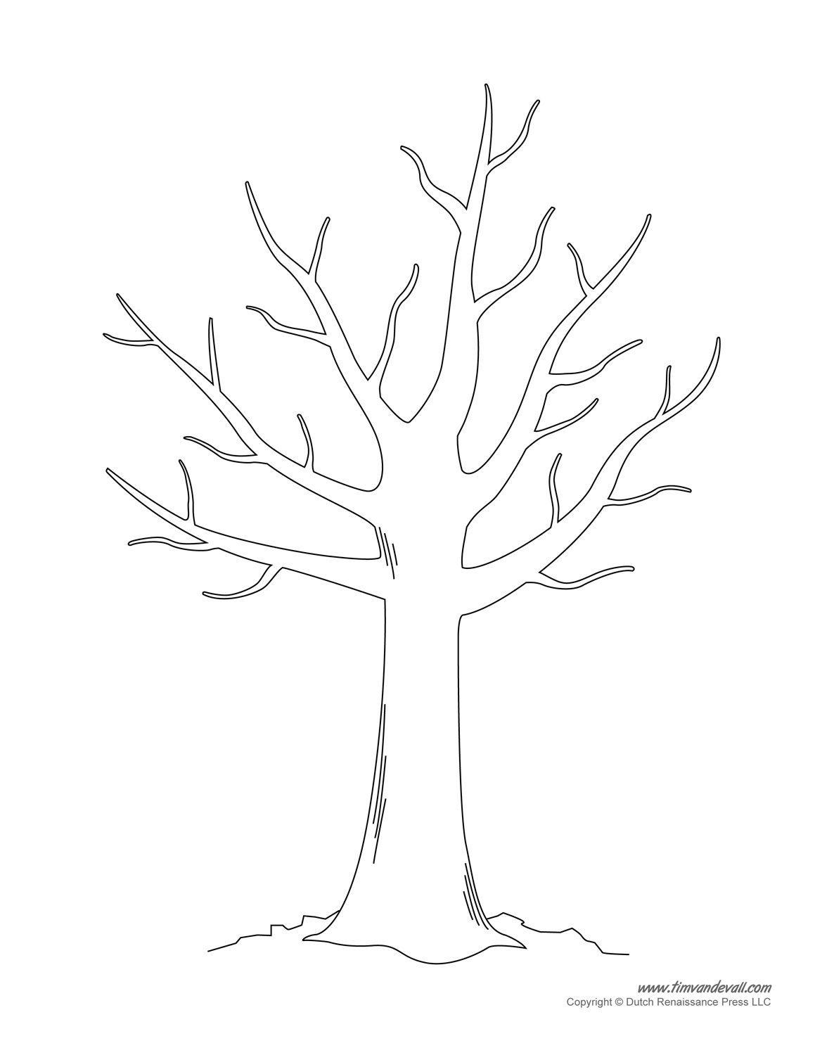 Free coloring pages of bare tree