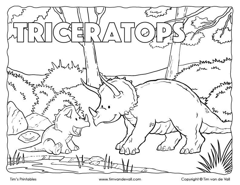 Triceratops Coloring Page - Tim\'s Printables